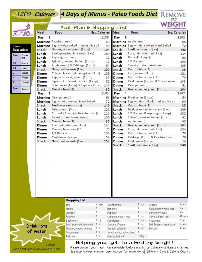 4 Day Diet Menu Plan for Paleo at 1200 Calories a day