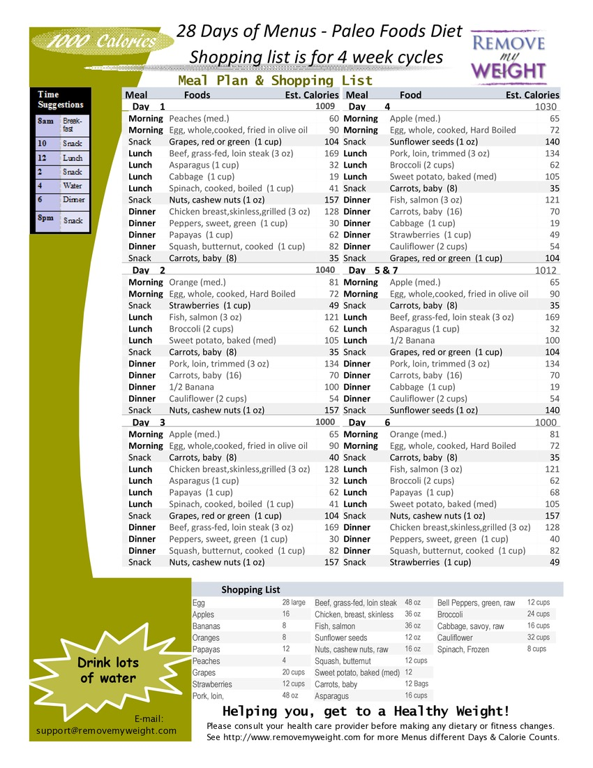 1000 Calories 28 Day Paleo Diet with Shoppong List - Printable - Menu Plan for Weight Loss