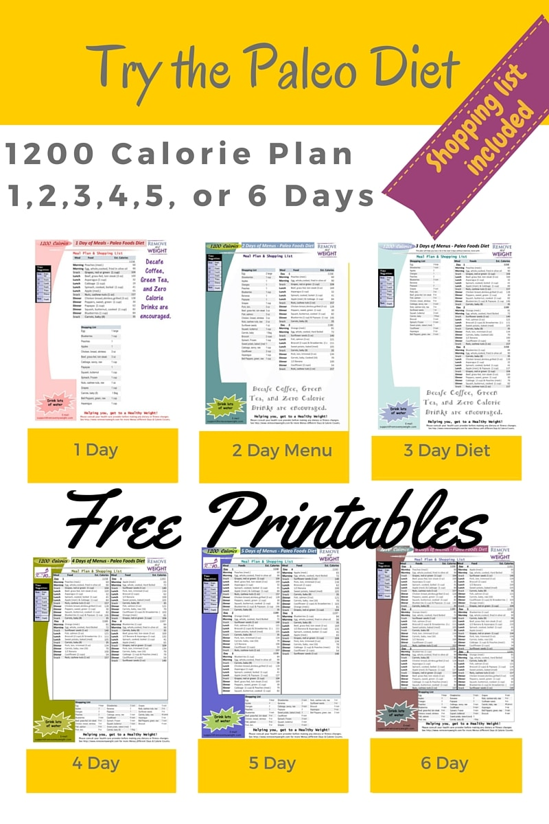 Printable 1200 Calorie Paleo Diet for 6 Days plus grocery list