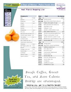 1100 Calorie, 2 day Diet and Menu Plan Paleo Foods