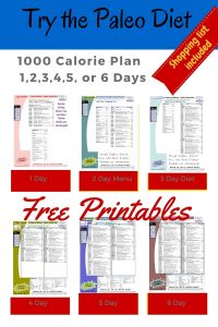 1000 Calories Diet Paleo Foods 1-6 Day Meal Plans