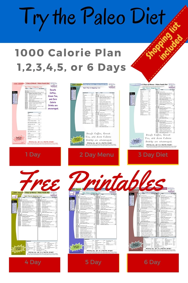 Paleo Diet: 1000 Calories Per Day - Menu Plan for Weight Loss