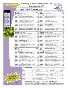 Paleo Diet Printable 6 Day family of 5 1400 Calories a day Menu