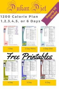 Dukan Diet 1200 Calorie Menu Plans