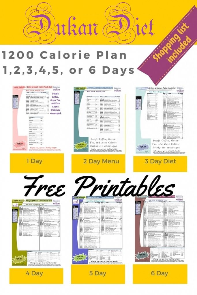 Printable Calorie Dukan Diet For Weight Loss With Shopping List - 1200 calorie meal plan for weight loss