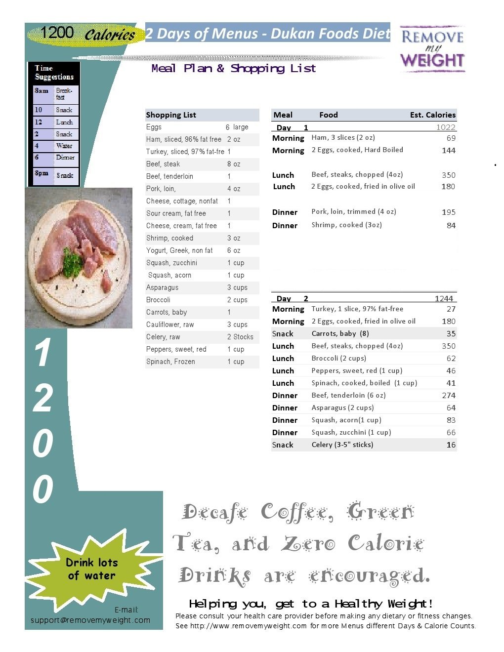 Dukan Cruise Phase - 2 Day 1200 Calorie Menu Plan