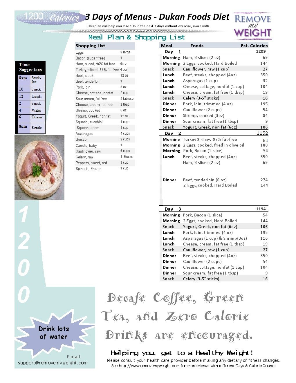 Dukan Cruise Phase - 3 Day Menu Plan 1200 Calorie Diet