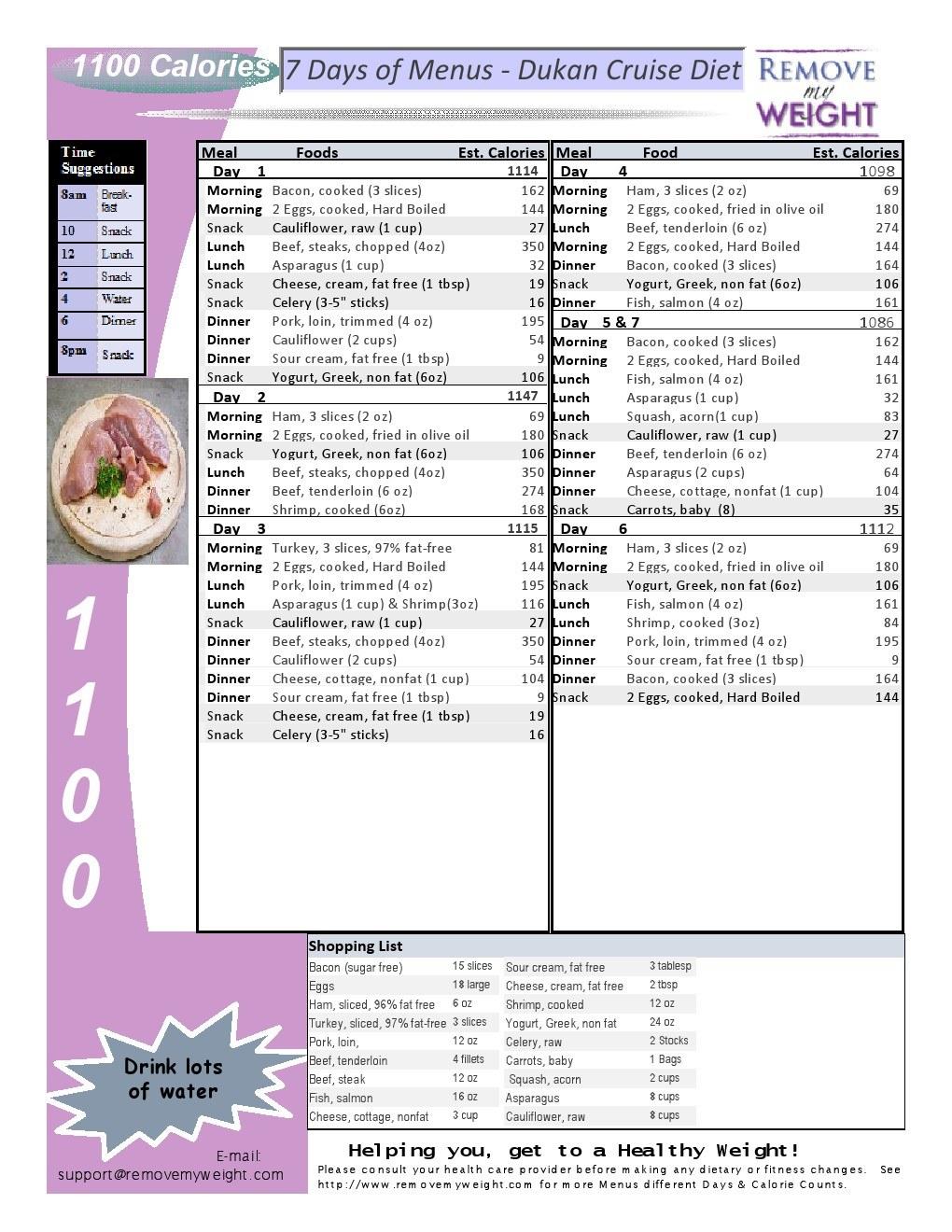 1 Week 1100 Calorie Menu Plan Based On The Dukan Diet