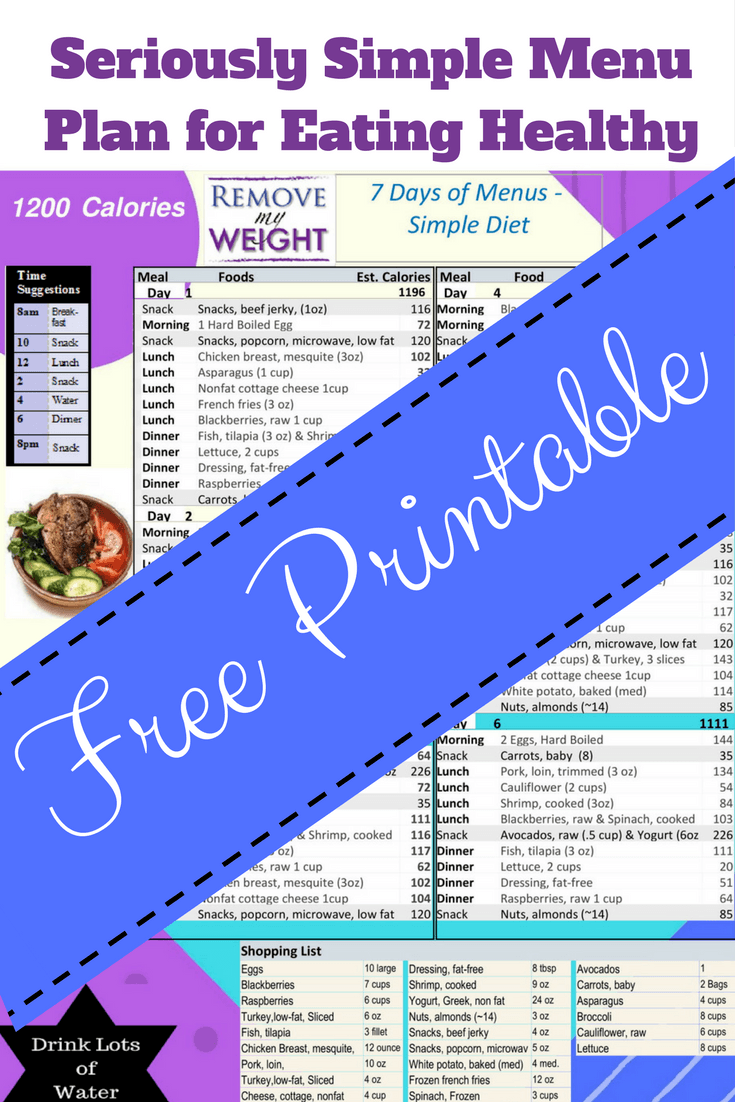 Simple Diet Menu Plan To Lose Weight