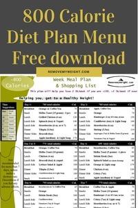 800 calorie diet plan menu pdf - Free download