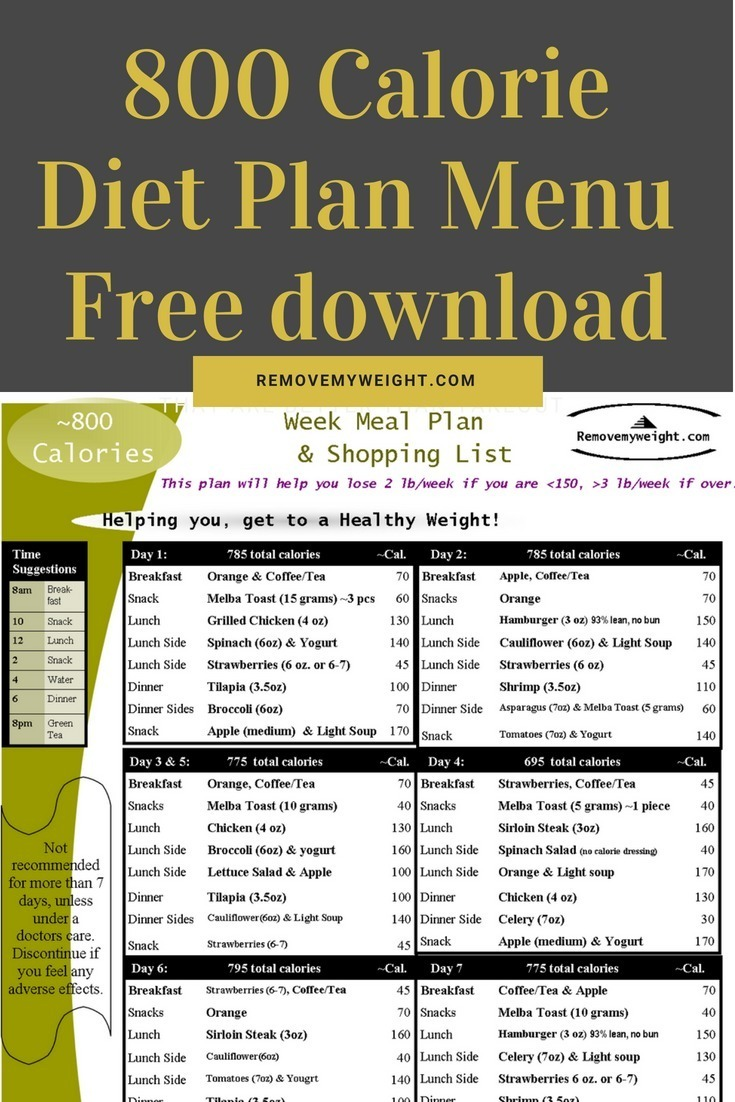 800 Calorie Diet Plan Menu PDF - Free download