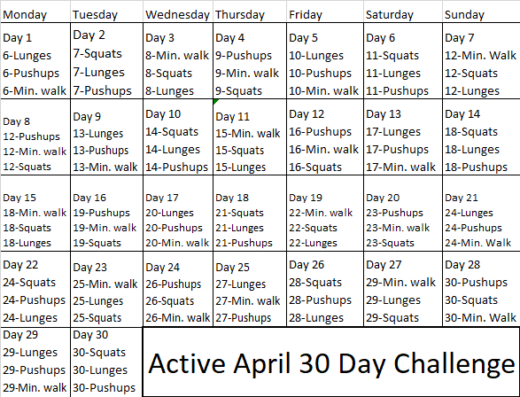 30 Day Active April Challenge