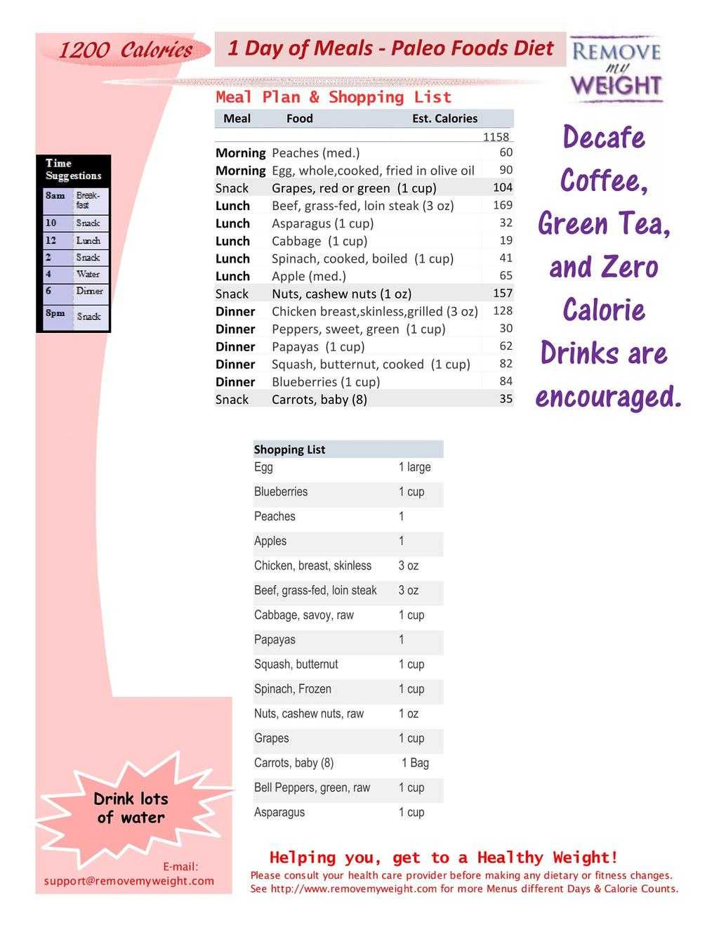 Printable 1 Day Meal Plan 1200 Calories a day Paleo Diet