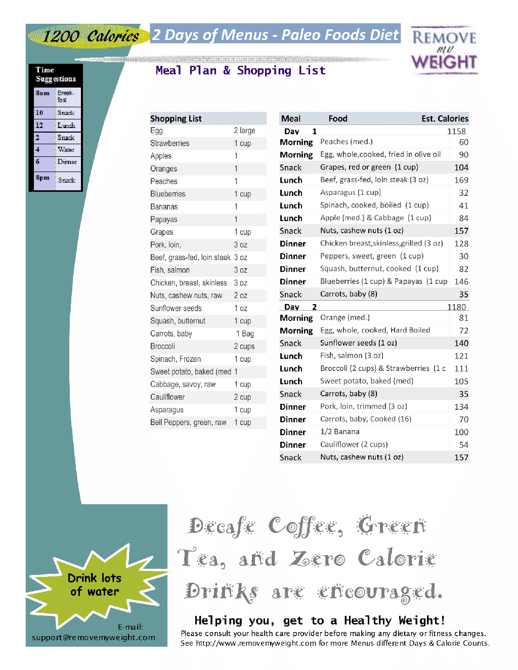 2 Day Diet Menu 1200 Calories Printable Paleo Easy
