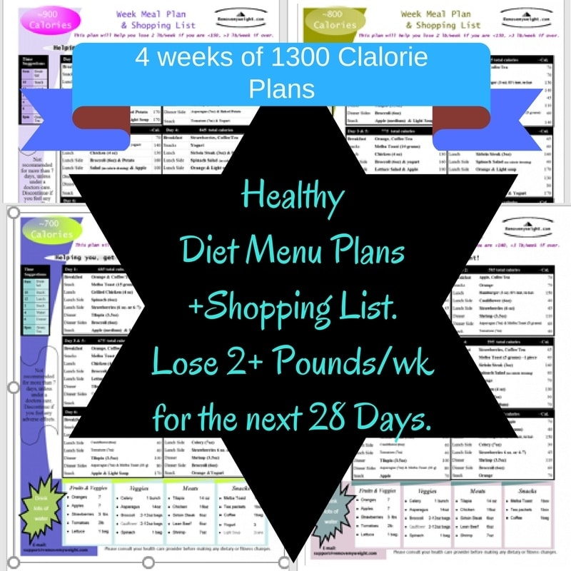 PURCHASE: 1300 Calorie Bundle - Menu Plan for Weight Loss